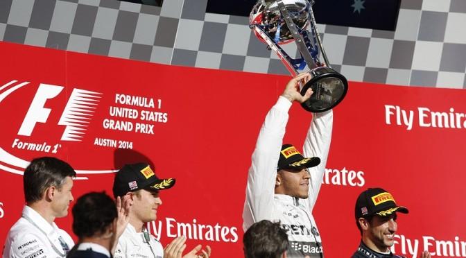 2014 United States Grand Prix Sunday Lewis Hamilton Nico Rosberg Podium Celebrations