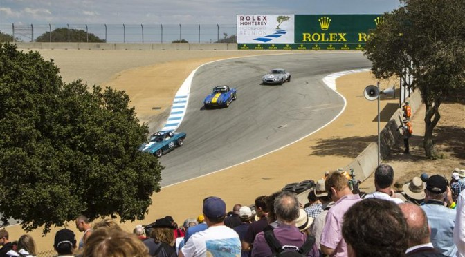 THREE CORVETTES FROM THE 1960S TAKE ON THE INFAMOUS CORKSCREW AT THE 2013 ROLEX MONTEREY MOTORSPORTS REUNION UNDER THE WATCHFUL GAZE OF FANS AND ENTHUSIASTS