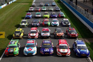 The huge 2014 grid lines up for the Season Launch at Donington Park