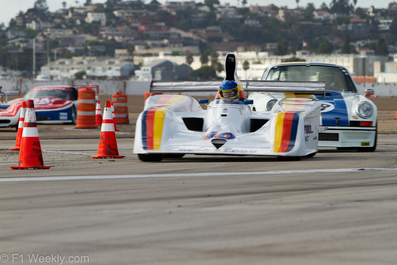 The 1978 Lola T-333 of Brent Berge leads Erich Joiners' 1972 Porshce RSR through turns 8 and 9.