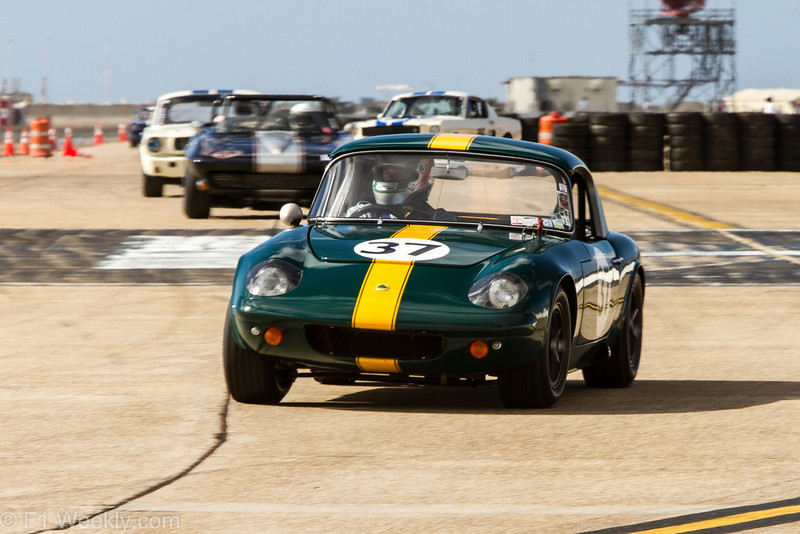 Michael Malone's 1965 Lotus Elan 26R gave the big cars something to think about (power to weight ratios), all weekend long.
