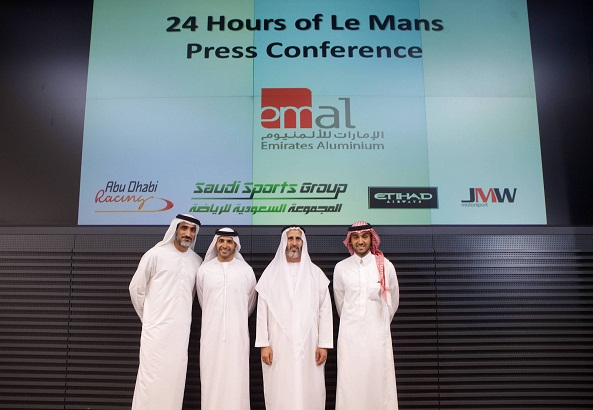 Khaled Al Qubaisi teams up with Prince Abdulaziz Bin Turki AlFaisal and Andrea Bertolini for his first appearance in the legendary 24 hours of Le Mans. L-R is Abdul Raheem AlHashemi (EMAL), Khaled Al Qubaisi, Saeed Fadhel Al Mazrooei (EMAL) and Prince Abdulaziz Bin Turki AlFaisal.