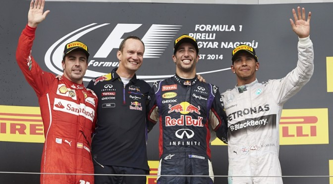 Hungary GP race podium2014