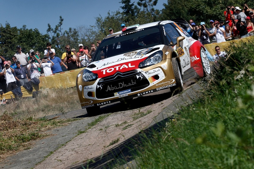 Sheikh Khalid Al Qassimi powers his Abu Dhabi Citroën Total DS3 WRC through the shakedown in Germany.