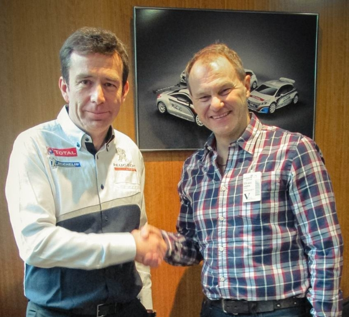 Peugeot Sport Director, Bruno Famin with Hansen Motorsport Team Manager Kenneth Hansen