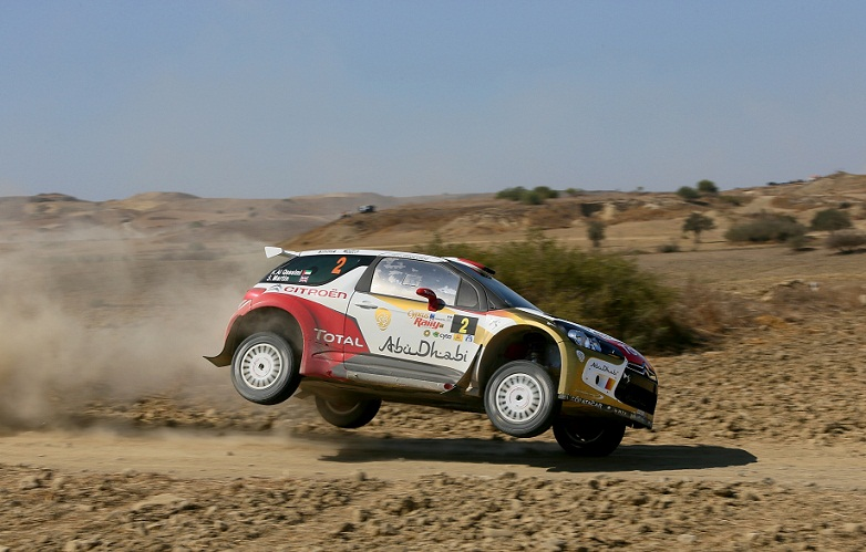 Sheikh Khalid Al Qassimi powering his Abu Dhabi Citroen DS3 in Cyprus today.