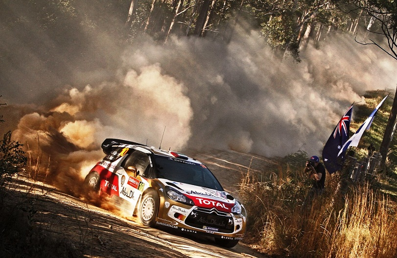 Sheikh Khalid Al Qassimi powering his Abu Dhabi Citroën Total DS3 on the qualifying stage in Rally Australia