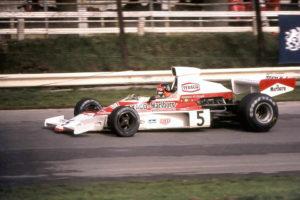 Emerson Fittipaldi in the McLaren M23 at the 1974 British Grand Prix