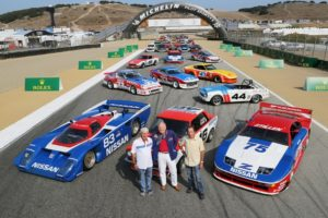 Nissan and Datsun racing legends John Morton, Peter Brock and Steve Millen, from left, helped celebrate Nissan's racing heritage as the featured marque at the Rolex Monterey Motorsports Reunion.