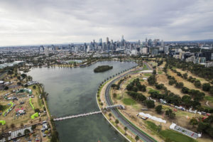 MELBOURNE GRAND PRIX CIRCUIT, AUSTRALIA - MARCH 24: An aerial view of the circuit and surrounding area during the Australian GP at Melbourne Grand Prix Circuit on March 24, 2018 in Melbourne Grand Prix Circuit, Australia. (Photo by Zak Mauger)