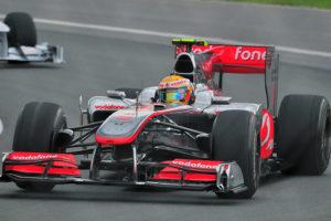 McLaren Mercedes driver Lewis Hamilton of England in the Senna C